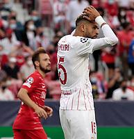 14th September 2021; Sevilla, Spain: UEFA Champions League football,  Sevilla FC versus RB Salzburg;  Youssef En-Nesyri of Sevilla frustrated at the miss during the Uefa Champions League