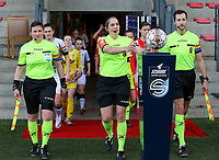 Lineswoman Ella De Vries, referee Caroline Lanssens and linesman Bryan Bijnens  walking onto the pitch before during a female soccer game between Standard Femina de Liege and Sporting Charleroi on the 16th matchday of the 2020 - 2021 season of Belgian Scooore Womens Super League , saturday 13 th of February 2021  in Angleur , Belgium . PHOTO SPORTPIX.BE | SPP | SEVIL OKTEM