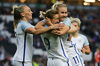 Ellen White of England Women (2nd left) celebrates with Isobel Christiansen (Manchester City) of England Women (right) after she scores the opening goal of the game during the Women's Friendly match between England Women and Austria Women at stadium:mk, Milton Keynes, England on 10 April 2017. Photo by PRiME Media Images / David Horn.