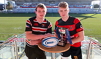 Monday 27th January 2020 | Ulster Schools' Cup Draw<br /> <br /> Banbridge Academy captain Adam Hanna and Rainey Endowed captain Joel Bell at the draw for the Ulster Schools' Bowl Quarter Finals held at Kingspan Stadium, Ravenhill Park, Belfast, Northern Ireland. Fixtures to be played on or before 8 Feb 2020. Photo credit - John Dickson DICKSONDIGITAL