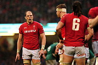 Pictured: Alun Wyn Jones of Wales during the Guinness six nations match between Wales and Ireland at the Principality Stadium, Cardiff, Wales, UK.<br /> Saturday 16 March 2019