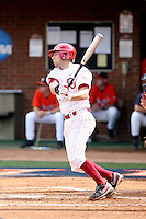 Tyler Ogle of the Oklahoma Sooners playing in Game Two of the NCAA Super Regional tournament against the Virginia Cavaliers at Charlottesville, VA - 06/13/2010. Oklahoma defeated Virginia, 10-7, to tie the series after two games.  Photo By Bill Mitchell / Four Seam Images