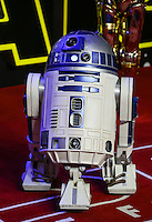 R2-D2 during the STAR WARS: 'The Force Awakens' EUROPEAN PREMIERE at Odeon, Empire & Vue Cinemas, Leicester Square, England on 16 December 2015. Photo by David Horn / PRiME Media Images