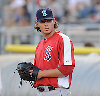 Pitcher Jeremy Kehrt (30) of the Salem Red Sox, a Boston Red Sox affiliate, before a game against the Potomac Nationals on June 8, 2012, at Pfitzner Stadium in Woodbridge, Virginia. Potomac won the second game of a doubleheader, 4-2. (Tom Priddy/Four Seam Images)
