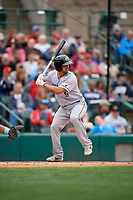 Charlotte Knights Seby Zavala (5) bats during an International League game against the Rochester Red Wings on June 16, 2019 at Frontier Field in Rochester, New York.  Rochester defeated Charlotte 3-2 in the second game of a doubleheader.  (Mike Janes/Four Seam Images)