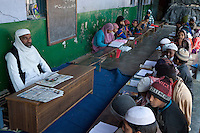 Madrasa Students with their Imam, Madrasa Islamia Arabia Izharul-Uloom, Dehradun, India.