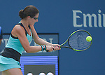 Jamie Loeb (USA) loses to Caroline Wozniacki (DEN)  6-2, 6-0 at the US Open in Flushing, NY on September 1, 2015.