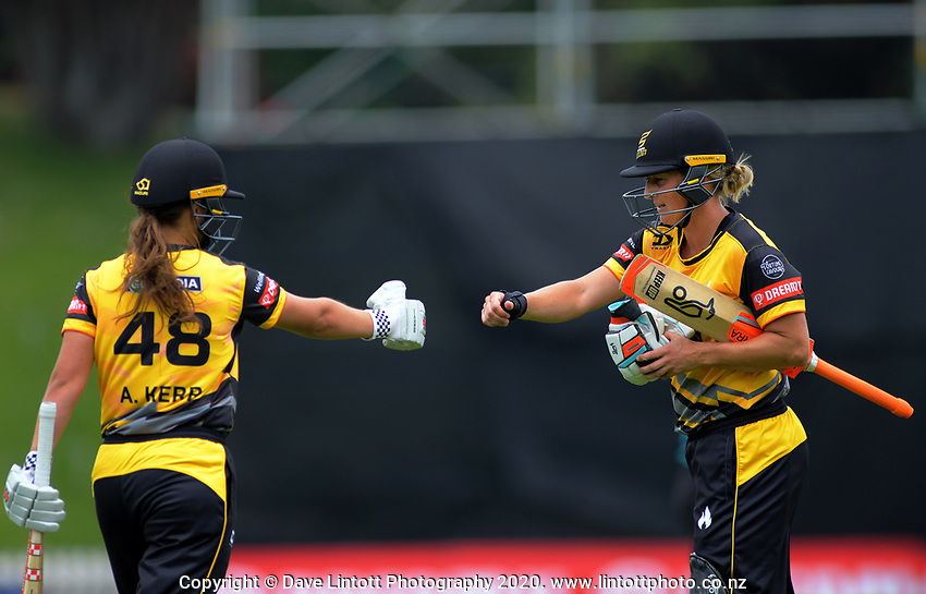 Wellington's Amelia Kerr and Sophie Devine (right) during the women's Dream11 Super Smash cricket match between the Wellington Blaze and Northern Spirit at Basin Reserve in Wellington, New Zealand on Friday, 3 January 2020. Photo: Dave Lintott / lintottphoto.co.nz