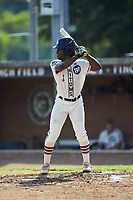 Kier Meredith (3) (Clemson) of the High Point-Thomasville HiToms at bat against the Statesville Owls at Finch Field on July 19, 2020 in Thomasville, NC. The HiToms defeated the Owls 21-0. (Brian Westerholt/Four Seam Images)