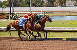 ARCADIA, CA  JULY 4:  #1 Classier, ridden by Mike Smith, and #3 Defunded, ridden by Abel Cedillo, are neck and neck in the stretch of the Los Alamitos Derby (Grade lll) on July 4, 2021 at Los Alamitos Race Course in Los Alamitos, CA.  (Photo by Casey Pnillips/ Eclipse Sportswire/ CSM)