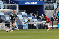 SAINT PAUL, MN - MAY 15: Brent Kallman #14 of Minnesota United FC during a game between FC Dallas and Minnesota United FC at Allianz Field on May 15, 2021 in Saint Paul, Minnesota.