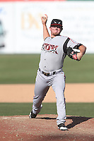 Jason Jester (27) of the Lake Elsinore Storm pitches during a game against the Inland Empire 66ers at San Manuel Stadium on May 27, 2015 in San Bernardino, California. Lake Elsinore defeated Inland Empire, 12-9. (Larry Goren/Four Seam Images)