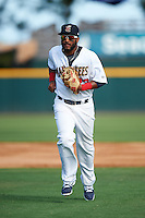 Brevard County Manatees shortstop Wendell Rijo (23) jogs to the dugout during a game against the Daytona Tortugas on August 14, 2016 at Space Coast Stadium in Viera, Florida.  Daytona defeated Brevard County 9-3.  (Mike Janes/Four Seam Images)