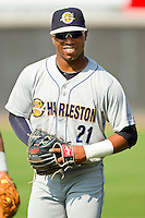 Angelo Gumbs #21 of the Charleston RiverDogs warms up in the outfield prior to the game against the Hickory Crawdads at L.P. Frans Stadium on April 29, 2012 in Hickory, North Carolina.  The Crawdads defeated the RiverDogs 12-3.  (Brian Westerholt/Four Seam Images)