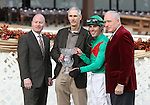 10 October 2009: Hawthorne President & General Manager Tim Carey, Trainer Scott Becker,  Jockey Chris Emigh, and Thomas Carey II present the trophy for 45th Hawthorne Derby at Hawthorne Race Course in Cicero/Stickney, Illinois.