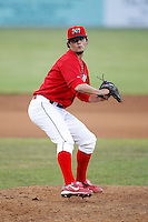 June 19, 2009:  Pitcher Justin Edwards of the Batavia Muckdogs delivers a pitch during a game at Dwyer Stadium in Batavia, NY.  The Muckdogs are the NY-Penn League Short-Season Class-A affiliate of the St. Louis Cardinals.  Photo by:  Mike Janes/Four Seam Images