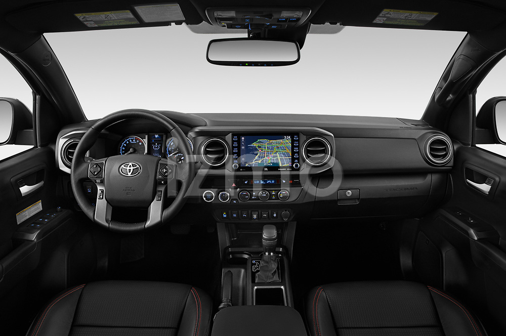 Stock photo of straight dashboard view of 2020 Toyota Tacoma TRD-Pro 4 Door Pick-up Dashboard