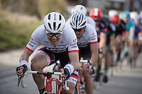 Markel Irizar (ESP/Trek-Segafredo) pulling a genuine effort at the front to get his race leader Cancellara back to the race leaders after a mechanical<br /> <br /> E3 - Harelbeke 2016