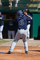 Zach Little (15) of the Wingate Bulldogs at bat against the Catawba Indians at Newman Park on March 19, 2017 in Salisbury, North Carolina. The Indians defeated the Bulldogs 12-6. (Brian Westerholt/Four Seam Images)