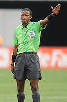 Referee Roberto Moreno.   Honduras defeated Costa Rica in Penalty Kick 4-2 in the quaterfinals for the 2011 CONCACAF Gold Cup , at the New Meadowlands Stadium, Saturday June 18, 2011.
