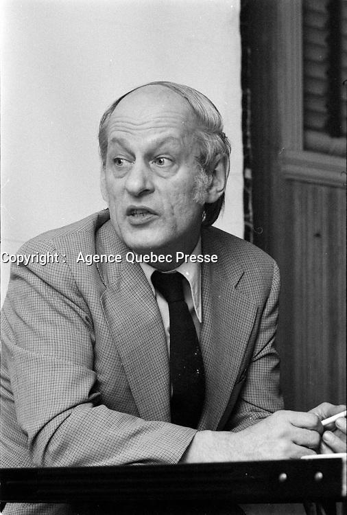 Le chef du PQ Rene Levesque, le 11 fevrier 1973.<br /> <br /> Photo : Agence Quebec Presse