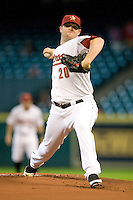 Houston Astros pitcher Bud Norris #20 delivers during the Major League Baseball game against the Philadelphia Phillies at Minute Maid Park in Houston, Texas on September 14, 2011. Philadelphia defeated Houston 1-0.  (Andrew Woolley/Four Seam Images)