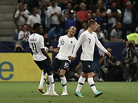 International friendly football match France vs Italy, Allianz Riviera, Nice, France, June 1, 2018. <br /> France's Ousmane Debele (l) celebrates after scoring with his teammates during the international friendly football match between France and Italy at the Allianz Riviera in Nice on June 1, 2018.<br /> UPDATE IMAGES PRESS/Isabella Bonotto