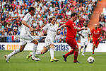 Real Madrid´s Michel Salgado (C) and Liverpool´s Fowler during 2015 Corazon Classic Match between Real Madrid Leyendas and Liverpool Legends at Santiago Bernabeu stadium in Madrid, Spain. June 14, 2015. (ALTERPHOTOS/Victor Blanco)