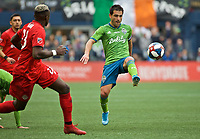 SEATTLE, WA - NOVEMBER 10: Seattle Sounders midfielder Nicolas Lodeiro #10 kicks the ball during a game between Toronto FC and Seattle Sounders FC at CenturyLink Field on November 10, 2019 in Seattle, Washington.