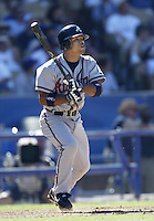 Rafael Furcal of the Atlanta Braves bats during a 2002 MLB season game against the Los Angeles Dodgers at Dodger Stadium, in Los Angeles, California. (Larry Goren/Four Seam Images)