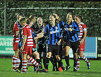 20131001 - VARSENARE , BELGIUM :  Brugge  pictured celebrating their 1-1 scored during the female soccer match between Club Brugge Vrouwen and Royal Antwerp FC Ladies , of the fifth matchday in the BENELEAGUE competition. Tuesday 1 October 2013. PHOTO DAVID CATRY