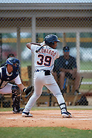 Detroit Tigers Iverson Leonardo (39) at bat during an Instructional League instrasquad game on September 20, 2019 at Tigertown in Lakeland, Florida.  (Mike Janes/Four Seam Images)