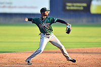 Greensboro Grasshoppers shortstop Liover Peguero (10) throws to first base during a game against the Asheville Tourists on August 24, 2021 at McCormick Field in Asheville, NC. (Tony Farlow/Four Seam Images)