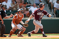 Texas A&M Aggies first baseman Jacob House #27 swings during the NCAA baseball game against the Texas Longhorns on April 28, 2012 at UFCU Disch-Falk Field in Austin, Texas. The Aggies beat the Longhorns 12-4. (Andrew Woolley / Four Seam Images)..
