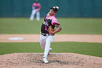 Charlotte Knights relief pitcher Tyler Johnson (7) in action against the Gwinnett Stripers at Truist Field on May 9, 2021 in Charlotte, North Carolina. (Brian Westerholt/Four Seam Images)