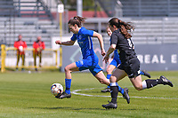 Gwen Duijsters (13) of KRC Genk and Valentine Hannecart (8) of Eendracht Aalst pictured during a female soccer game between Eendracht Aalst and Racing Genk on the 10 th and last matchday of play off 2 of the 2020 - 2021 season of Belgian Scooore Womens Super League , Saturday 29 st of May 2021  in Aalst , Belgium . PHOTO SPORTPIX.BE | SPP | STIJN AUDOOREN