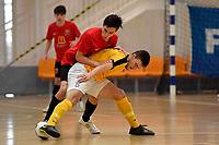 Dominic McCann of Capital and Semi Innes of Canterbury during the Men's Futsal SuperLeague, Canterbury United Futsal Dragons v Capital Futsal at ASB Sports Centre, Wellington on Saturday 31 October 2020.<br /> Copyright photo: Masanori Udagawa /  www.photosp ort.nz