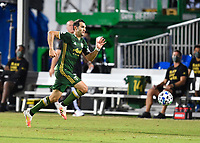 LAKE BUENA VISTA, FL - JULY 18: Diego Valeri #8 of the Portland Timbers runs onto a pass during a game between Houston Dynamo and Portland Timbers at ESPN Wide World of Sports on July 18, 2020 in Lake Buena Vista, Florida.