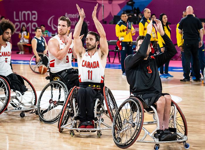 Chad Jassman and Colin Higgins, Lima 2019 - Wheelchair Basketball // Basketball en fauteuil roulant.<br /> Men's wheelchair basketball takes on Colombia in the semifinal game // Le basketball en fauteuil roulant masculin affronte la Colombie en demi-finale. 30/08/2019.