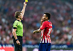 Angel Correa of Atletico de Madrid reacts as referee Alejandro Hernandez Hernandez shows him the yellow card during their International Champions Cup Europe 2018 match between Atletico de Madrid and FC Internazionale at Wanda Metropolitano on 11 August 2018, in Madrid, Spain. Photo by Diego Souto / Power Sport Images