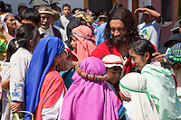 Jesus Blessing the Children.  (Mark 10:13-16).  Palm Sunday Re-enactment of events in the life of Jesus, by the group called Luna LLena (Full Moon), a group of volunteers in Antigua, Guatemala.