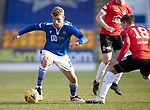 St Johnstone v Clyde…17.04.21   McDiarmid Park   Scottish Cup<br />David Wotherspoon turns Jack Thompson<br />Picture by Graeme Hart.<br />Copyright Perthshire Picture Agency<br />Tel: 01738 623350  Mobile: 07990 594431