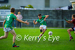 Castlegregory's Maurice O'Connell take his shot for a gaol against Cromane in the Junior Football Championship Group 2 game