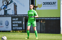 goalkeeper Josephine Delvaux (1) of KRC Genk pictured during a female soccer game between Eendracht Aalst and Racing Genk on the 10 th and last matchday of play off 2 of the 2020 - 2021 season of Belgian Scooore Womens Super League , Saturday 29 st of May 2021  in Aalst , Belgium . PHOTO SPORTPIX.BE | SPP | DAVID CATRY