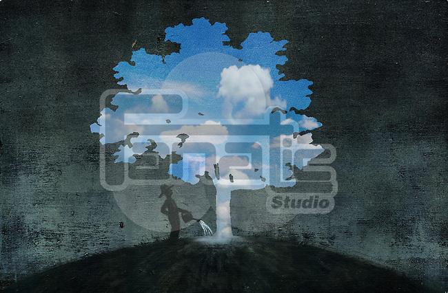 Illustrative image of man watering tree representing hope