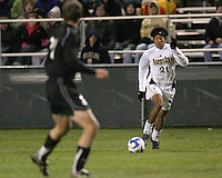 Justin Morrow #21 of Notre Dame races towards the Oakland defense. The University of Notre Dame defeated Oakland University 2-1 in the second round of the NCAA championship at Alumni Field at the University of Notre Dame in South Bend, Indiana on November 28, 2007.