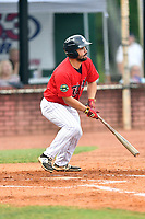 Elizabethton Twins third baseman Alex Robles (24) swings at a pitch during game two of the Appalachian League Championship Series against the Princeton Rays at Joe O'Brien Field on September 5, 2018 in Elizabethton, Tennessee. The Twins defeated the Rays 2-1 to win the Appalachian League Championship. (Tony Farlow/Four Seam Images)