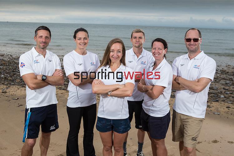 Team GB Rio Olympics marathon swimming team.<br /> Bernie Dietzig, Keri Anne Payne, Louise Imrie, Jack Burnell, Laurel Bailey & Kevin Renshaw.<br /> Langland Bay<br /> 26.07.16<br /> ©Steve Pope Sportingwales