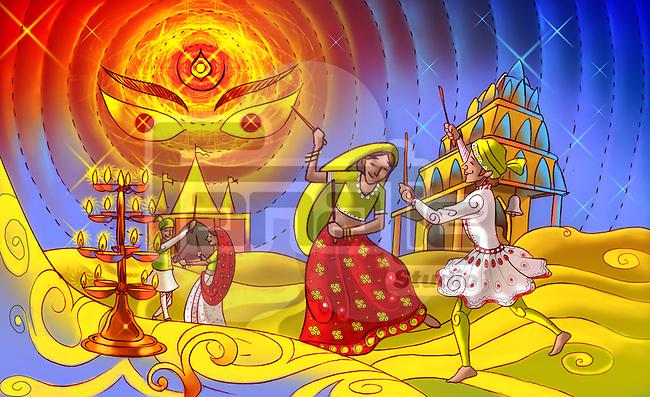 Couples doing garba dance of navratri festival