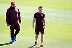 Atletico de Madrid's coach Diego Pablo Cholo Simeone (r) with his second German Mono Burgos during training session. April 11,2017.(ALTERPHOTOS/Acero)